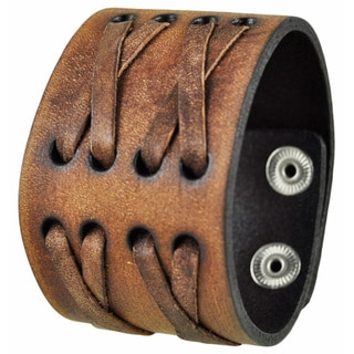Nemesis Brushed Brown Wide X Crazy Horse Leather Cuff Bracelet Snap-on Band