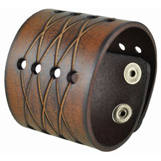 Nemesis Brown X Cross-cut Leather Cuff Bracelet