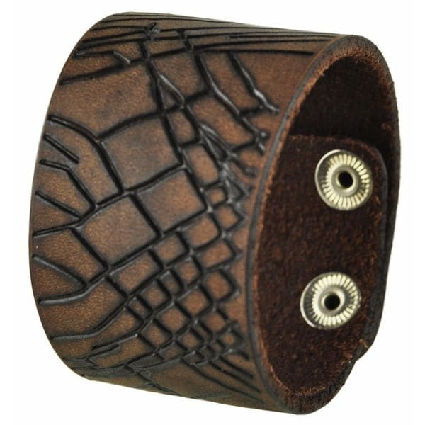 Nemesis Brown Cracked Leather Snap-on Cuff