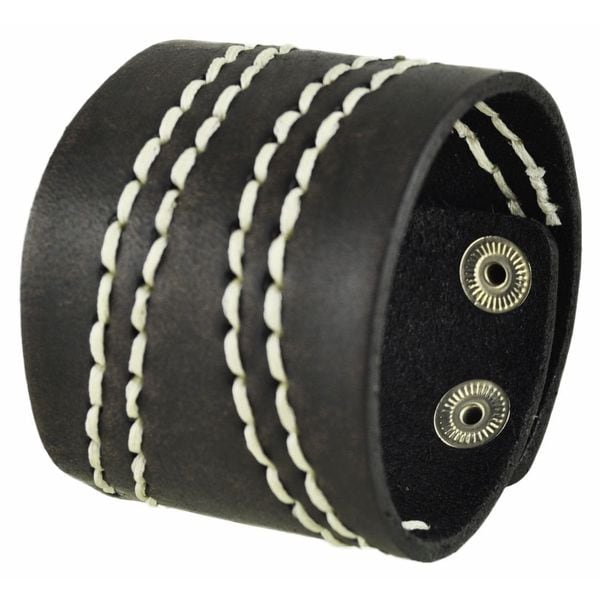 Nemesis Wide Dark Brown with White Curve Stitch Leather Cuff Bracelet