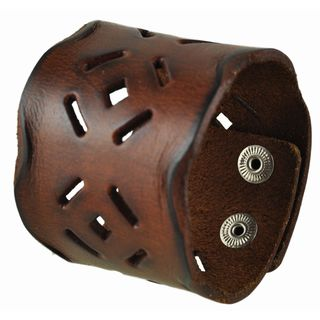 Nemesis Brown Perforated Square Leather Cuff Bracelet