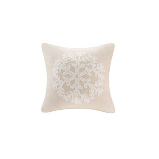 Madison Park Snowflake Embroidered Poly Suede Feather Down Filled Square Pillow