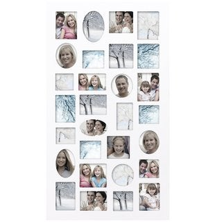 Adeco White Wood Wall Collage Picture Frame, 29 Openings, Various Sizes