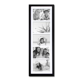 Adeco Black Wood Hanging Picture Frame with 5 Openings