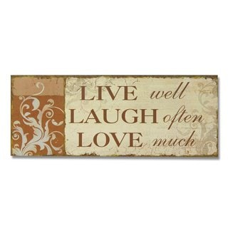 "Adeco Decorative Wood Wall Sign Plaque, ""Live, Laugh Love"""