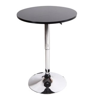 Adeco Black Wood Bar Table, Adjustable, Chromed Pedestal Base
