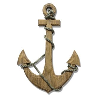 Ornamental Nautical Ship Anchor 24-inch Wood Wall Decoration