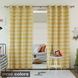 Doodle Print Room Darkening Grommet 84-inch Curtain Panel Pair