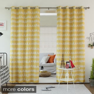 Lights Out Doodle Print Room Darkening Grommet Top Curtain Panel Pair