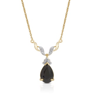 Dolce Giavonna Gold Over Sterling Silver Sapphire and Diamond Accent Teardrop Necklace