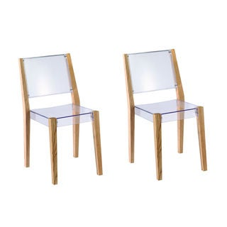 Lhosta Wood and Transparent Acrylic Side Chair (Set of 2)