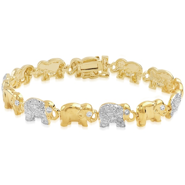 Finesque Gold Overlay Diamond Accent Elephant Design Link Design with Red Bow Gift Box
