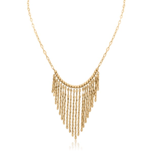 Gioelli 14k Gold Dangle Beaded Bib Necklace