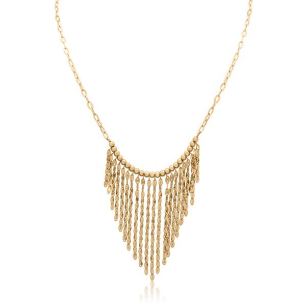 Gioelli 14k Gold Dangle Beaded Bib Necklace