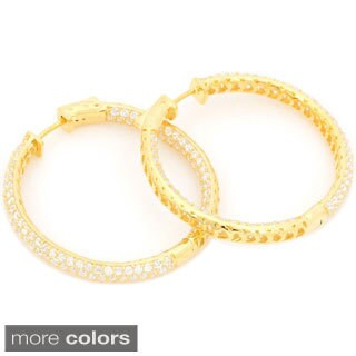 Gold over Silver Pave Inside-out Cubic Zirconia Hoop Earrings