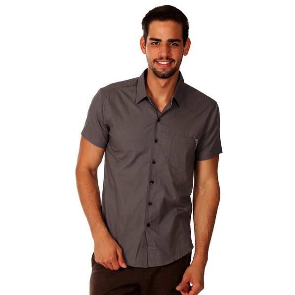 Something Strong Men's Slim Fit Grey Cotton Chambray Shirt