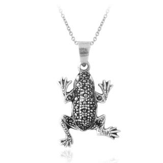 Glitzy Rocks Sterling Silver Marcasite Frog Necklace