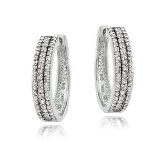 DB Designs Sterling Silver 1ct TDW Diamond Hoop Earrings (I-J, I2-I3)