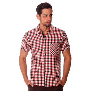 Something Strong Men's Red Plaid Cotton Shirt