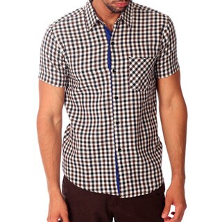 Something Strong Men's Blue and Brown Plaid Cotton Shirt