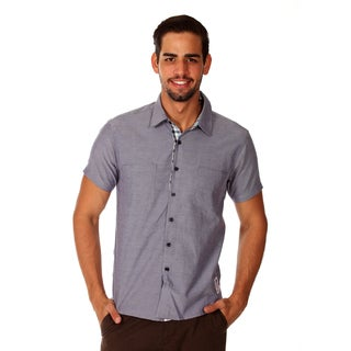 Something Strong Men's Slim Fit Blue Cotton Chambray Shirt