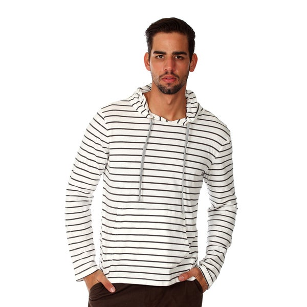 Something Strong Men's White/ Grey Stiped Pull-over Hoodie