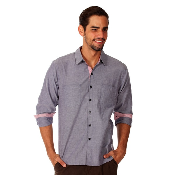 Something Strong Men's Solid Blue Cotton Chambray Shirt