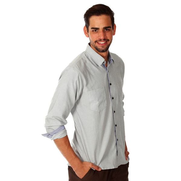 Something Strong Men's Grey Cotton Chambray Shirt