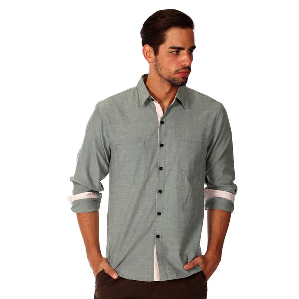 Something Strong Men's Dark Grey Cotton Chambray Shirt