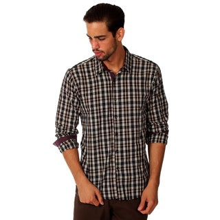 Something Strong Men's Charcoal Plaid Cotton Shirt