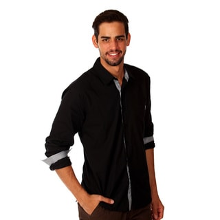 Something Strong Men's Solid Black Cotton Button-up Shirt