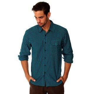 Something Strong Men's Blue Cotton Plaid Shirt