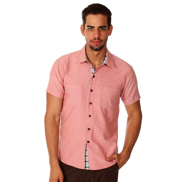 Something Strong Men's Salmon Pink Cotton Chambray Shirt
