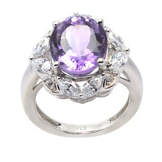 De Buman Sterling Silver Genuine Amethyst and Cubic Zirconia Ring (Size 6.75)