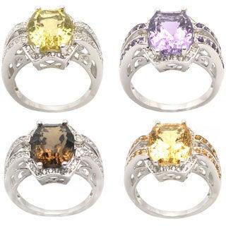 De Buman Sterling Silver Gemstone with Cubic Zircornia Ring