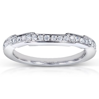 Annello 14k White Gold 1/6ct TDW Contoured Diamond Wedding Band (H-I, I1-I2)