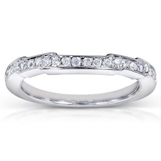 Annello 14k White Gold 1/6ct TDW Contoured Diamond Wedding Band (H-I, I1-I2)
