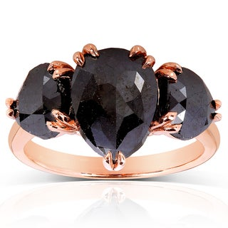 Annello 10k Rose Gold 4 1/4ct TDW Fancy Cut Black Diamond Three Stone Ring