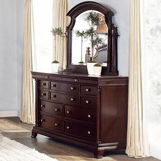 Clara Cherry Brown Dresser and Swivel Mirror