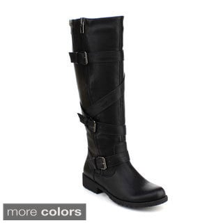 DBDK Women's 'Sotilaa-1' Buckled Knee-high Riding Boots