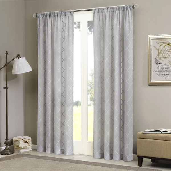 Madison Park Iris Embroidered Diamond Sheer Curtain Panel 13966776