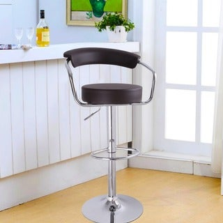 Adeco Brown Leatherette Adjustable Barstool Chair, Curved Back, Chrome Arms and Base (Set of 2)