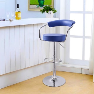Adeco Blue Leatherette Adjustable Barstool Chair, Curved Back, Chrome Arms and Base (Set of 2)