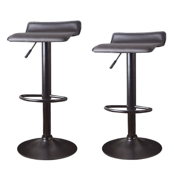 Adeco Brown Hydraulic Lift Adjustable Barstool Low Back