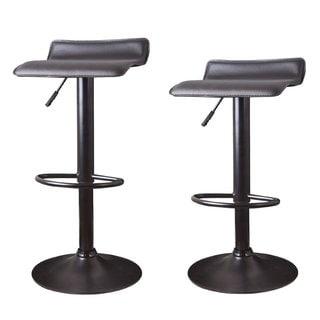 Adeco Brown Hydraulic Lift Adjustable Barstool Low Back Metal Pedestal Base (Set of 2)
