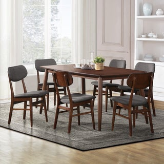 Willow Cherry Modern Angled-leg Wood 7-piece Dining Set