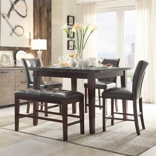 TRIBECCA HOME Colyton Marble Top 6-piece Counter Height Bench Dining Set