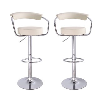 Adeco Cream Leatherette Adjustable Barstool Chair, Curved Back, Chrome Arms and Base (Set of 2)