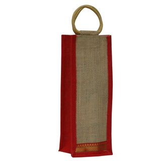 Eco-friendly Reusable Single Bottle Jute Wine Bag with Red Trim (India)