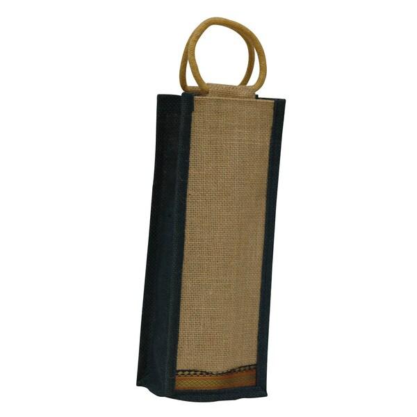 Eco-friendly Reusable Dark Blue Trim Single Bottle Jute Wine Bag (India)